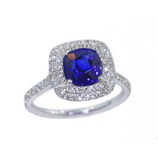 Cushion blue sapphire double pave' diamond halo ring