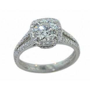 Cushion shaped pave' halo split shank diamond ring