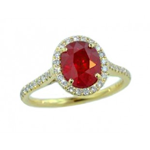 2.51ct oval ruby pave' diamond halo ring 18k gold