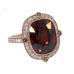 14 carat raspberry zircon and diamond rose gold ring