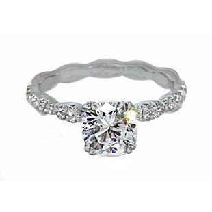 """Scalloped"" pave' diamond split prong crown ring"