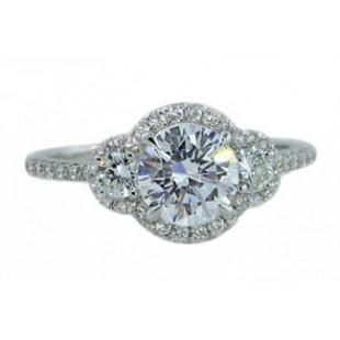 Three-stone pave' halo design delicate ring