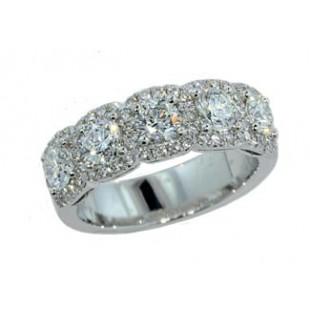 Five stone round diamond pave' halo band