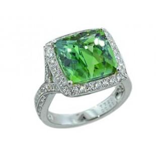 7.20ct cushion green tourmaline twist diamond ring