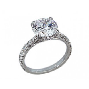 French pave tapering shank fancy crown diamond engagement ring