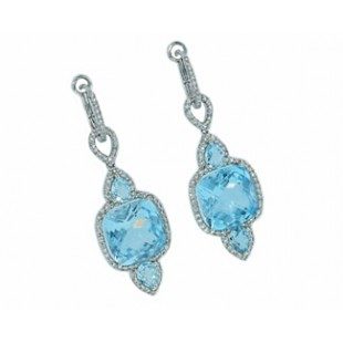 16.50ctw blue topaz pave' diamond dangle earrings