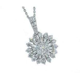 18k white gold 1.18ctw starburst diamond pendant