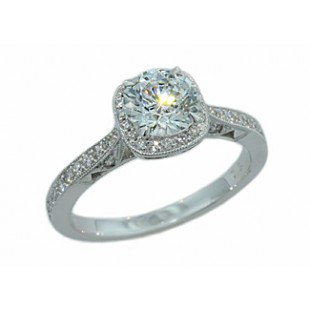 Filigree profile pave' halo milgrain diamond ring