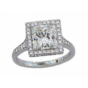 Custom made princess cut diamond pave halo ring