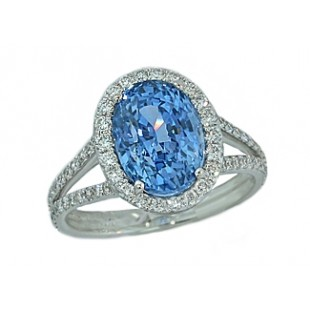 5.14ct sky-blue sapphire pave halo split ring