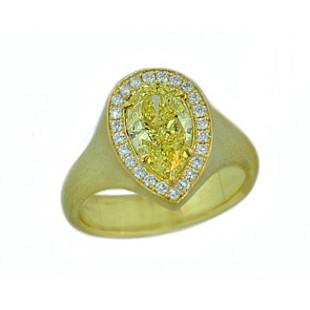 Fancy Intense Yellow 1.70ct pear diamond brushed 1