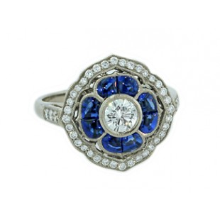 Sapphire and diamond vintage floral design ring