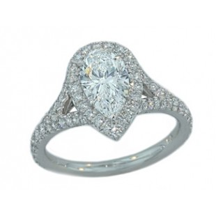 1.18ct D/VS1 Pear diamond halo split shank plt rin