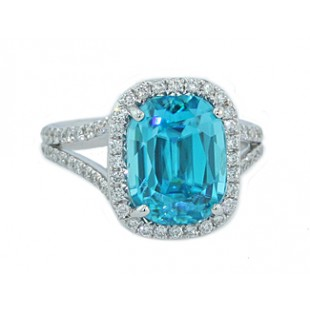 Custom made 8.37ct cushion cut blue zircon pave' diamond ring