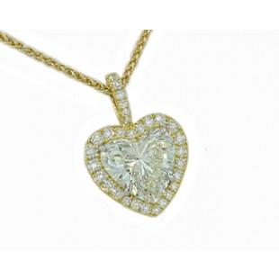 1.85ct Heart diamond pave' halo pendant 18k gold