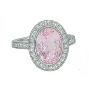 2.60ct Morganite pave' diamond halo milgrain ring