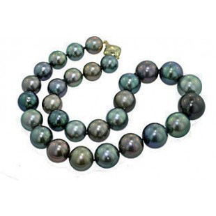 12-10mm Black South Sea's Pearl Graduating necklac