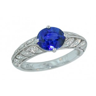 2.07ct sapphire pierced leaf pave' diamond ring