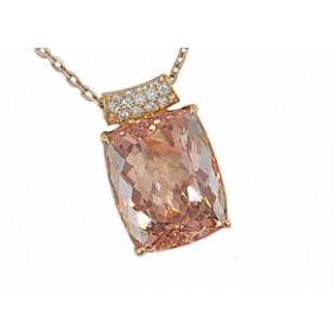 13ct cushion Morganite and diamond 18k rose pendan