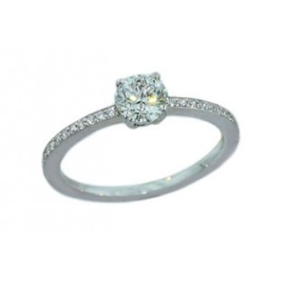 .57ct F color Round Brilliant diamond delicate pave diamond