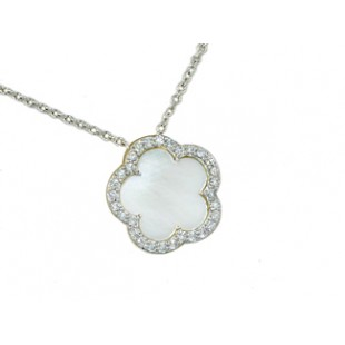 Mother-of-pearl flower diamond pave' necklace
