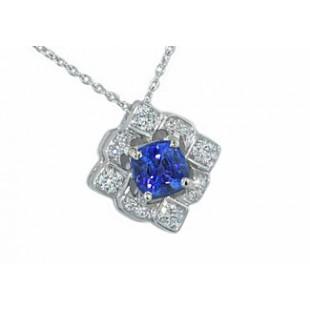 3/4ct cushion sapphire snowflake diamond pendant
