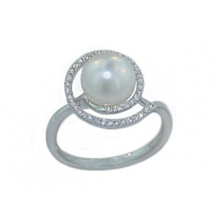 8mm South Sea's pearl pave' diamond swirl ring