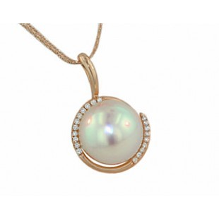 11.5mm South Sea;s pearl Rose gold diamond pendant