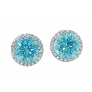 5ctw blue Zircon pave' diamond halo earrings