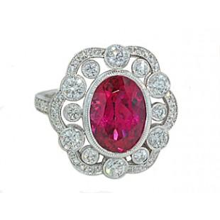 3.45ct Rubellite tourmaline diamond Heirloom ring