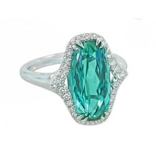 5ct cushion seafoam tourmaline pave' diamond ring