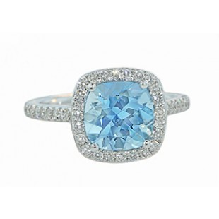 1.78ct Cushion Aquamarine pave' diamond halo ring