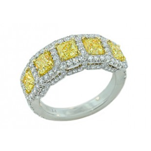 Handmade Fancy Yellow Radiant pave' diamond band