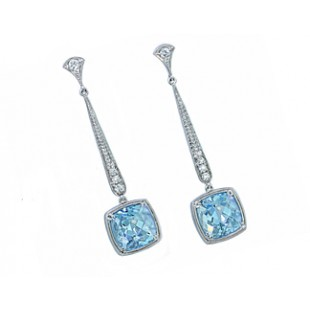 8ctw cushion Aquamarine handmade 18k drop earrings