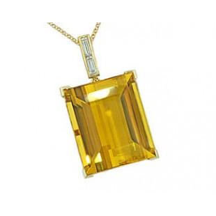 29ct Golden Beryl w/ diamond bail 18k yg pendant