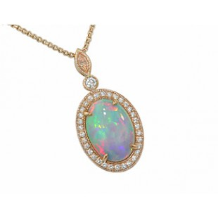Rose gold opal pave pink diamond marquise pendant
