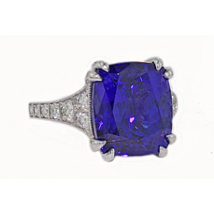 10.68ct cushion Tanzanite and diamond milgrain ring