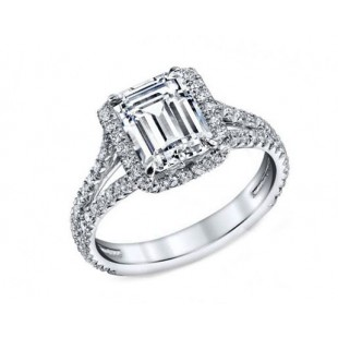 Custom made 1.25ct Criss cut diamond pave split shank engagement ring