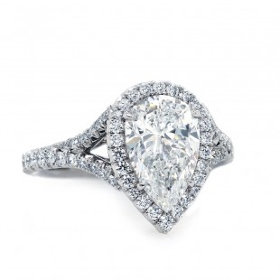 Pear Shape Diamond Engagement Ring Halo