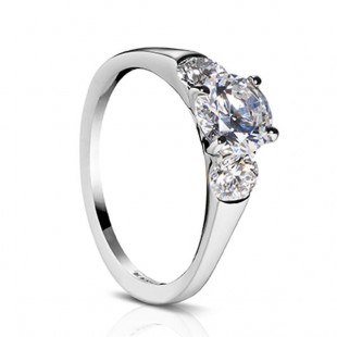 Sholdt design Fremont style three-stone diamond 1/2 bezel ring