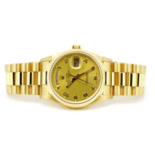 Rolex Day-Date President in 18k yellow gold with Champagne dial