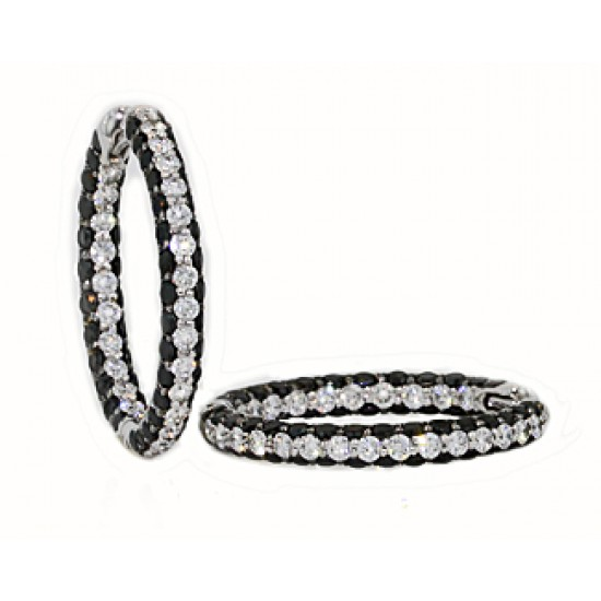25mm 3-sided pave' black white diamond hoops