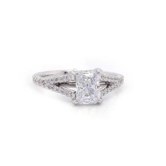 Split Shank Radiant Cut Engagement Ring
