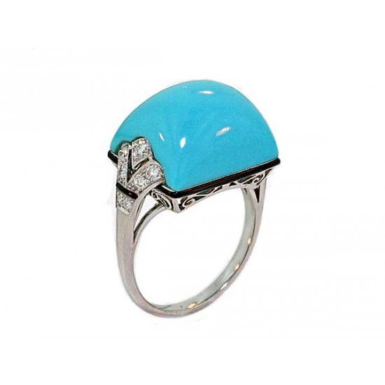 13ct Fine Turquoise vintage styled plat ring
