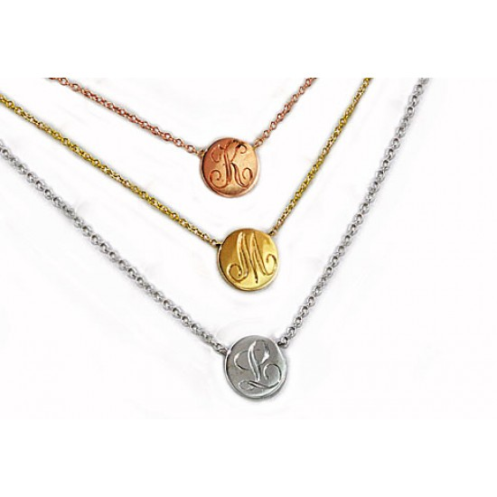 14k engraved initial necklaces (sold individually)