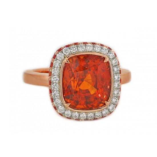 Cushion orange sapphire rose gold pave ring