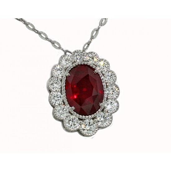 1.8ct ruby and diamond milgrain bezel pendant