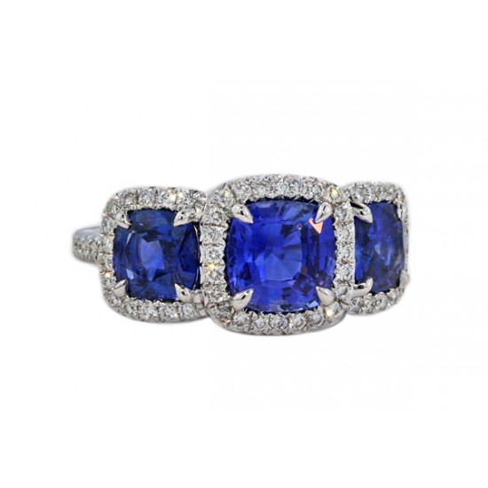 3.4ctw cushion sapphire pave' halo 3-stone ring