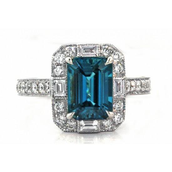 Emerald cut Blue Zircon baguette round diamond hal