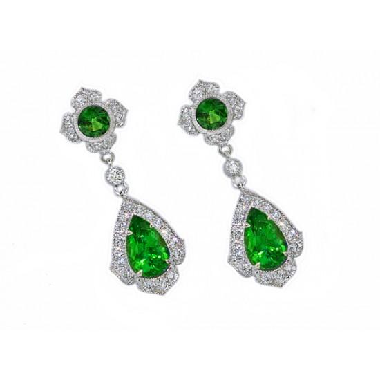 Tsavorite garnet diamond pave' dangle earrings